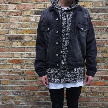 HZIJUE Autumn denim jacket man Korean style Vintage Jeans coats black big size male denim outwear 127533