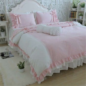 Sweet young lady bedding set elegant bow ruffle lace duvet cover wedding decorative bedding princess bed sheet bed linen cover 162215